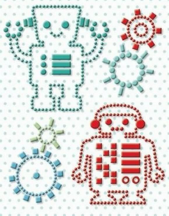 Adesivos em forma de robô