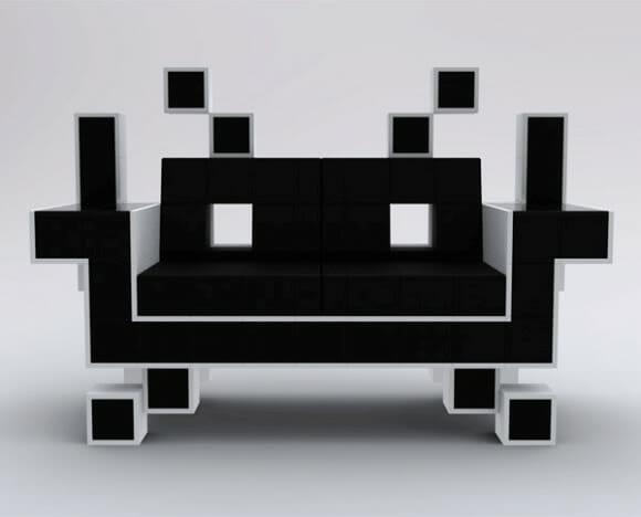 Sofá Space Invaders. O sonho de consumo dos Geeks!