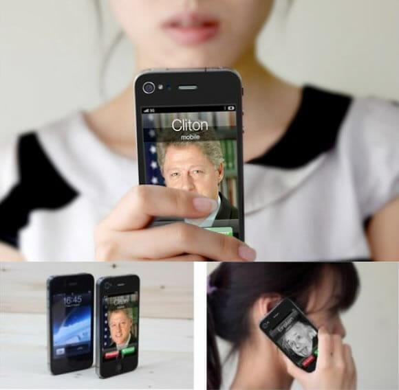 """Adesivos para iPhone com chamadas telefônicas """"fakes"""""""