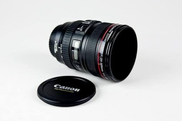 Canecas em forma de lente de câmeras Canon