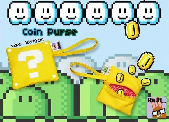 Porta moedas bloco de interrogação do Super Mario.