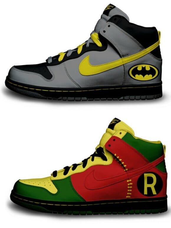Nikes da dupla dinâmica Batman e Robin!