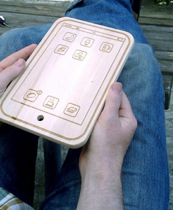 Tábua de carne em forma de iPad