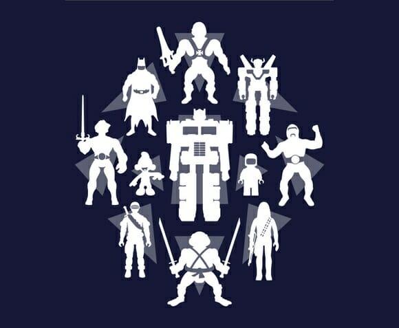 Camiseta Heróis de Plástico ocultos. Quem são?