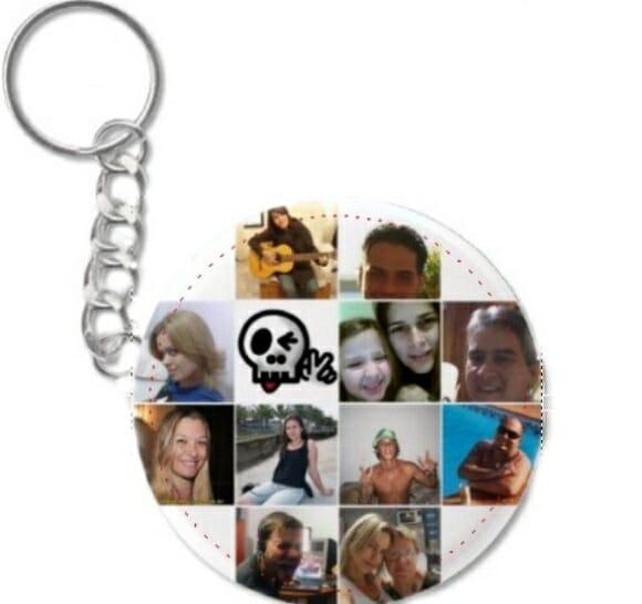 Chaveiros personalizados com fotos dos seus amigos do Facebook.