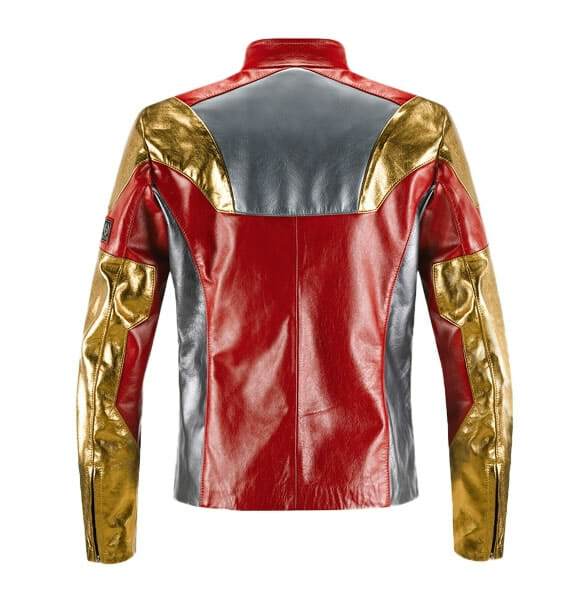 Jaqueta de couro oficial do Iron Man traz as cores da armadura do herói.
