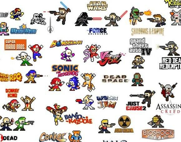 100 personagens de Vídeo-Game em estilo Megaman.