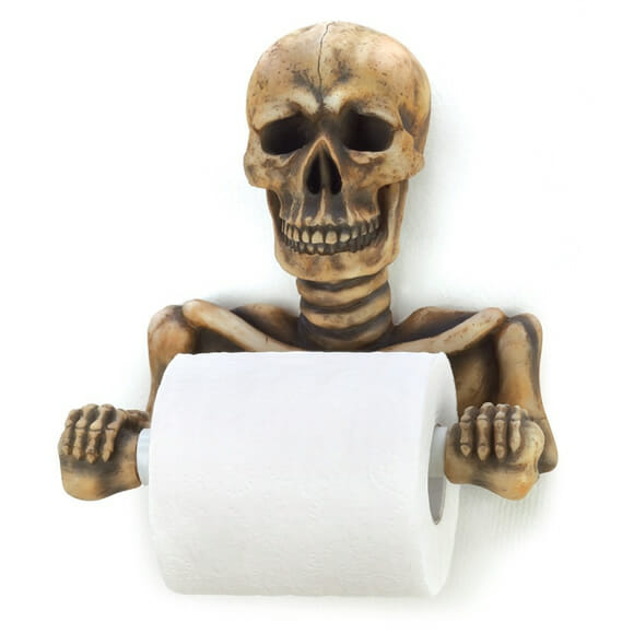 Caveira porta papel higiênico