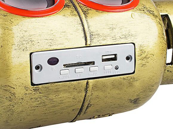 Speaker e MP3 player em forma de botijão de gás.