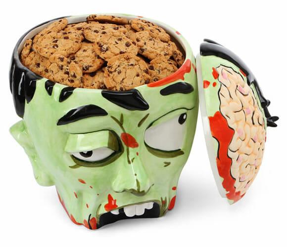 Pote de biscoitos em forma de cabeça de Zumbi