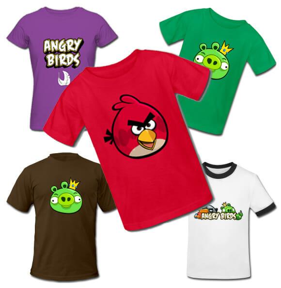 Camisetas do game Angry Birds.