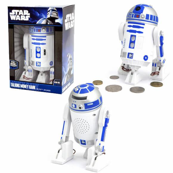 Cofrinho do R2-D2 emite sons iguais aos do personagem.