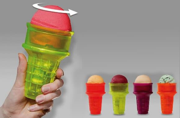 Cones motorizados pra quem tem preguiça até de tomar sorvete.