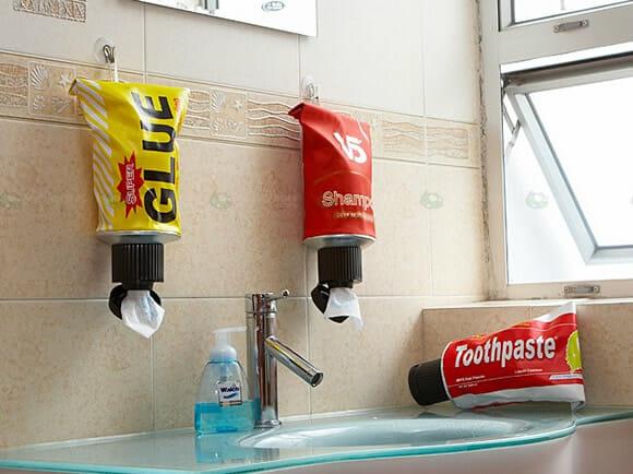 Dispenser criativo em forma de Tubo de Pasta de Dente.
