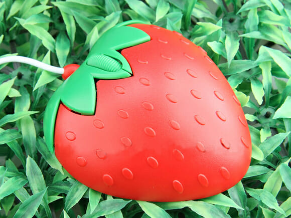 USB Strawberry Mouse – Mouse em forma de morango.