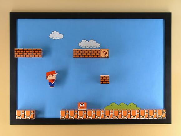 Painel do Super Mario World 3D feito em papercraft. Você também pode ter um!