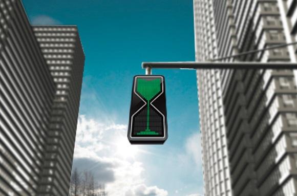 Semáforo ampulheta torna os cruzamentos mais interessantes.