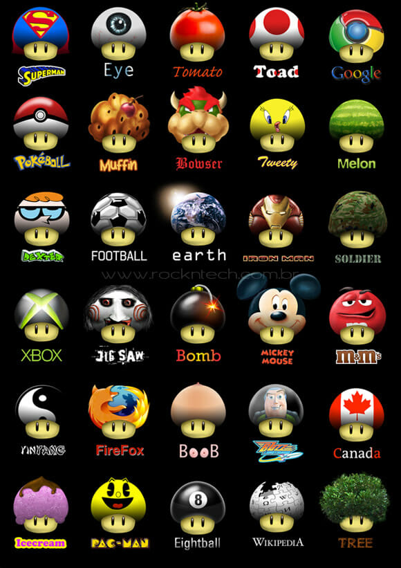 As muitas faces do Super Mushroom do Super Mario.