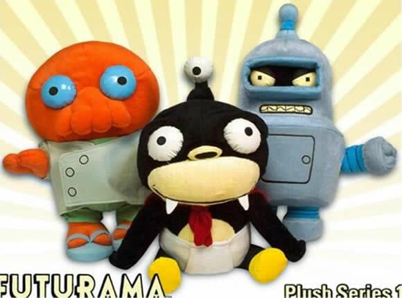 Conjunto bonecos de pelúcia da série Futurama