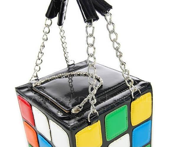 Bolsa cubo mágico para meninas geeks.
