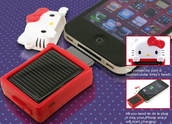 Carregador Solar da Hello Kitty para iPhone 4/3G.