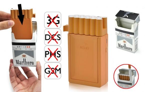 Um bloqueador de sinais de celular do tamanho de um maço de cigarros.