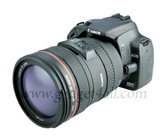 Cofrinho em forma de câmera Canon.
