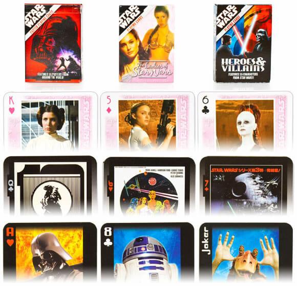 Cartas de baralho do Star Wars.
