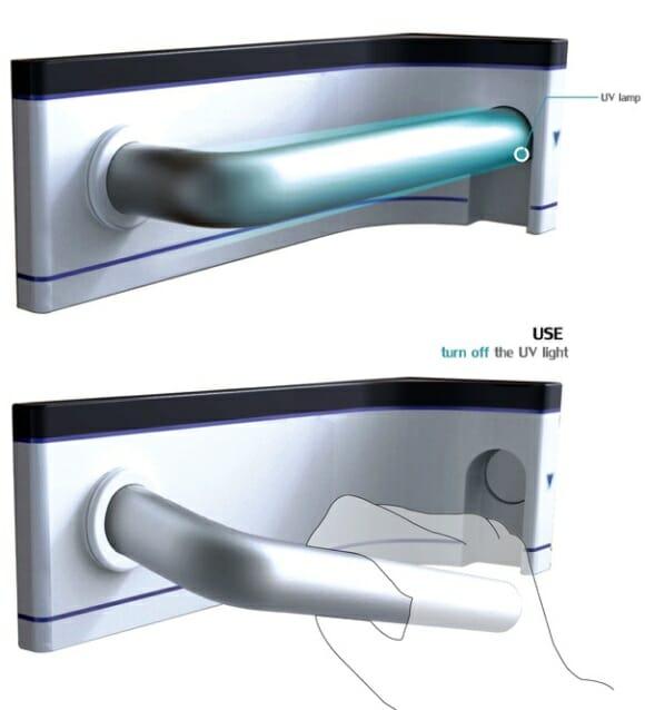 Maçaneta com sistema de auto esterilização.