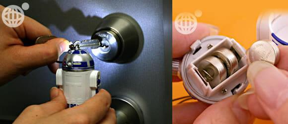 Chaveiro e pingente para celular do R2-D2 e seus amigos.