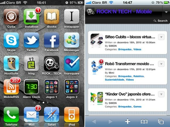 Telas ROCK'N TECH Mobile para iPhones/iTouchs