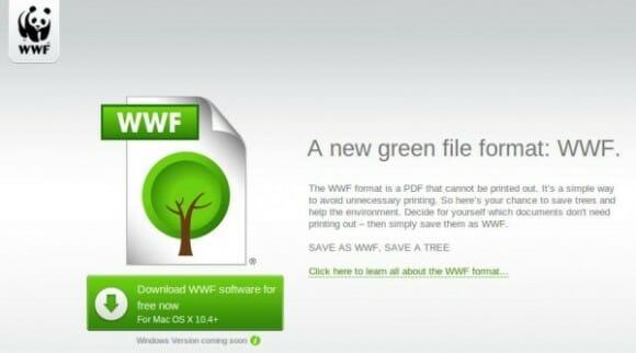 Organização WWF cria um formato de documento que não pode ser impresso.