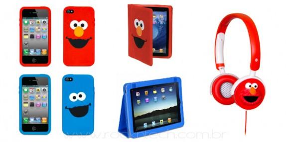 Cases para iPhone, iPad e headphones inspirados na Vila Sésamo.