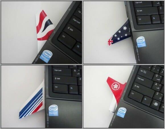Pen drives em forma de lemes de aviões comerciais