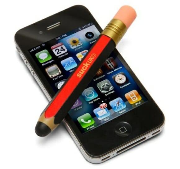 Uma caneta stylus em forma de lápis para iPhones e iPods Touch.