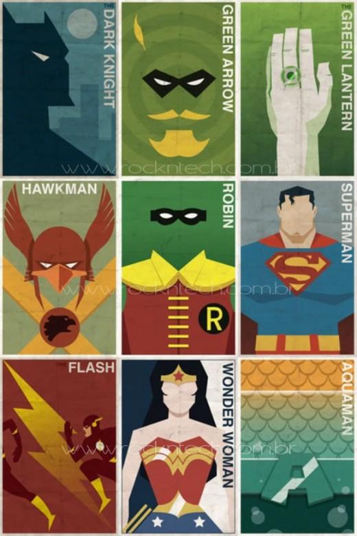 FOTOFUN – Poster vintage dos Super Heróis da DC Comics.