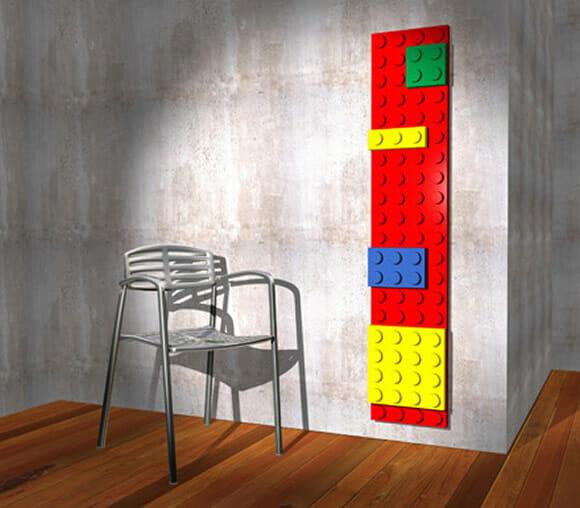 Aquecedor de ambiente inspirado nos blocos de LEGO.