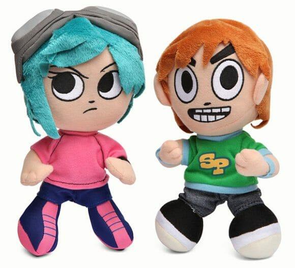Bonecos de pelúcia do Scott Pilgrim e Ramona Flowers