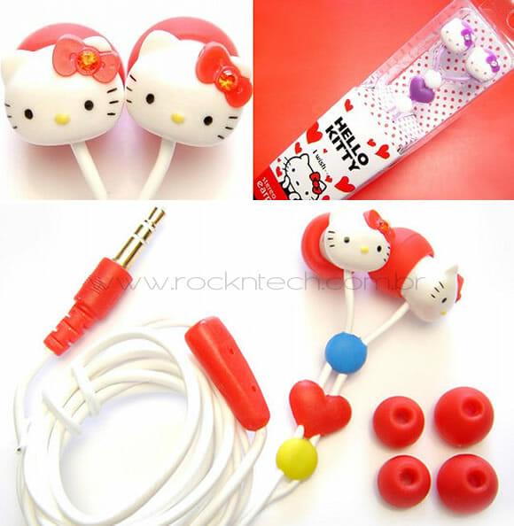 Mais fones de ouvido super fofos da Hello Kitty.
