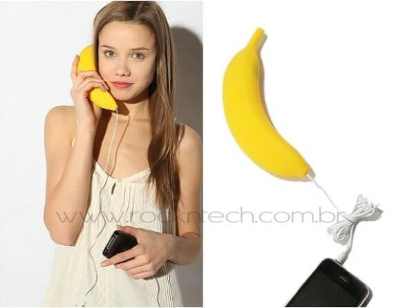 Handset de banana para falar ao celular.