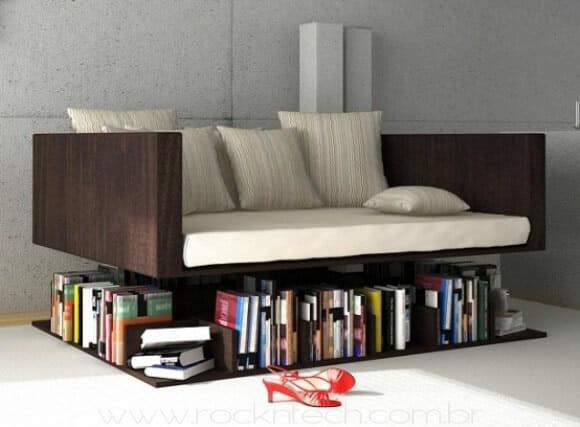 Sofá e estante de livros em um só lugar!