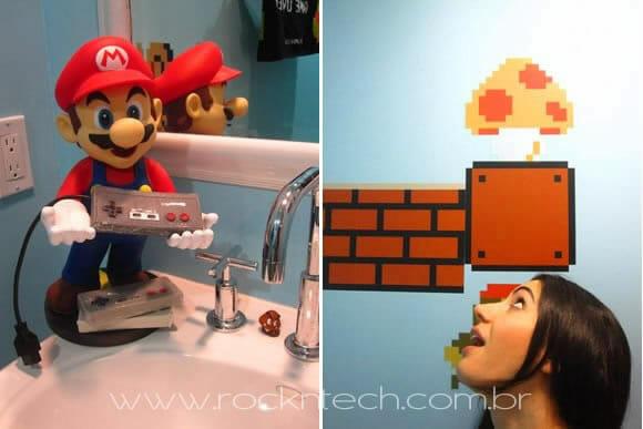 Já pensou em decorar seu banheiro com imagens e objetos do jogo Super Mario?