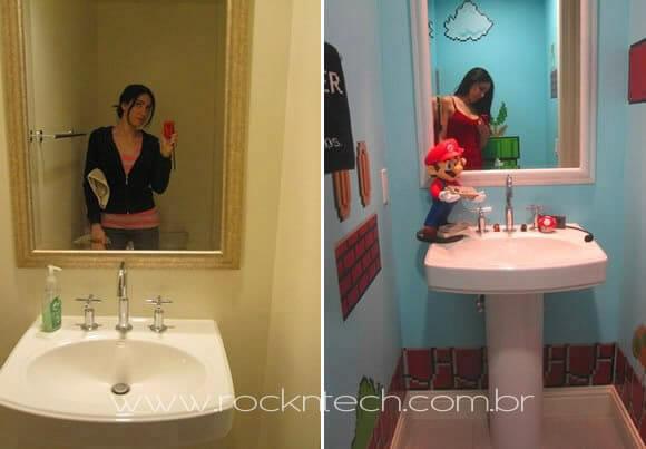 Já pensou em decorar seu banheiro com imagens e objetos do jogo Super Mario?  -> Decoracao Geek Banheiro