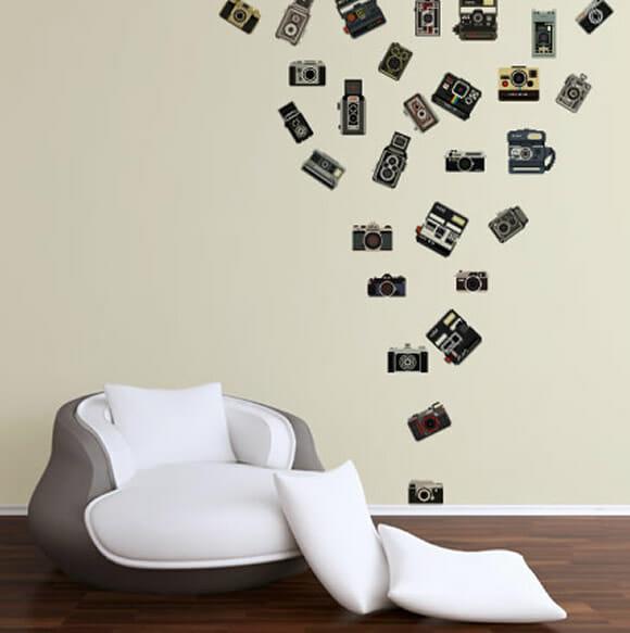 Adesivos de parede que imitam câmeras fotográficas para  ~ Adesivos De Parede Quarto Gamer