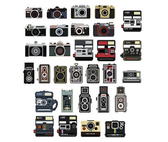 Adesivos de parede que imitam câmeras fotográficas para apaixonados por fotografia.