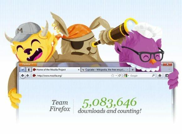 Firefox 4 ultrapassa a casa dos 5 milhões de downloads em 24 horas.