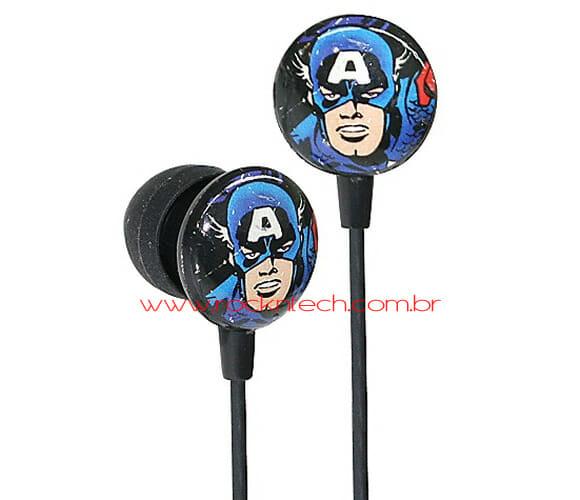 Fones de ouvido do Capitão América.