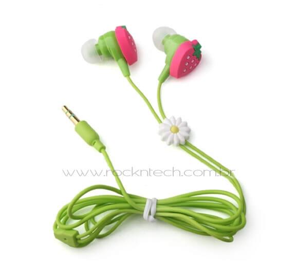 Fones de ouvido inspirados em morangos.
