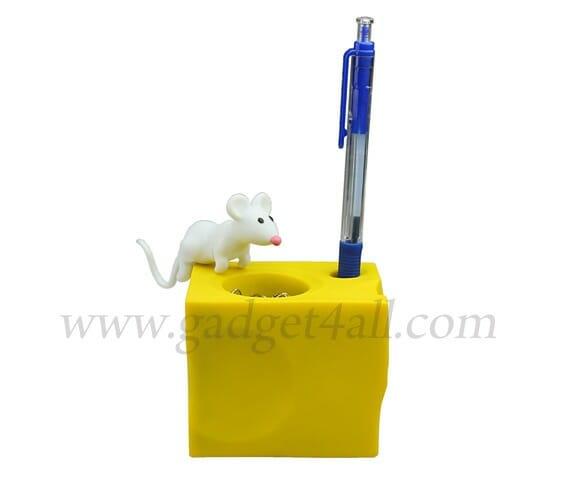 Porta clips em forma de queijo e rato.