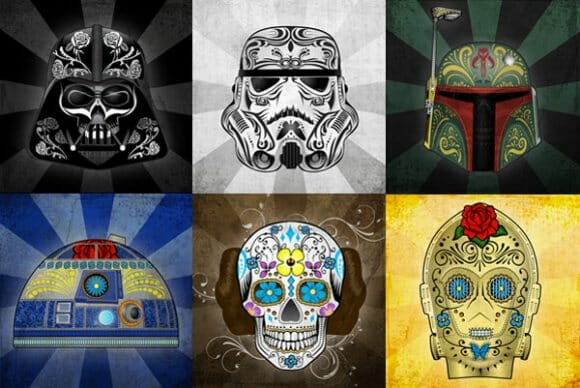 Personagens de Star Wars para comemorar o feriado mexicano do Dia dos Mortos.